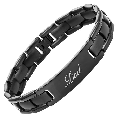 Mens Black DAD bracelet engraved Best Dad Ever