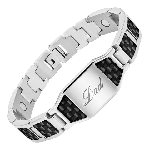 Mens Magnetic Therapy Bracelet Engraved Love You Dad