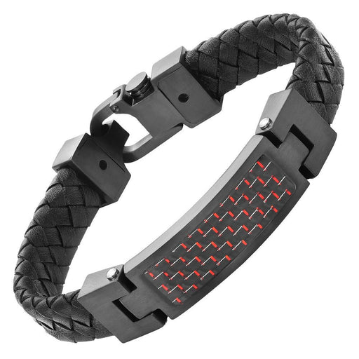 Willis Judd Black Leather Bracelet with Stainless Steel and Red Carbon Fiber Engraved I Love You with Gift Box