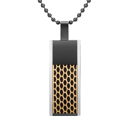 Willis Judd Mens Black Tri Color Stainless Steel Honey Comb Pendant with Necklace and Gift Pouch