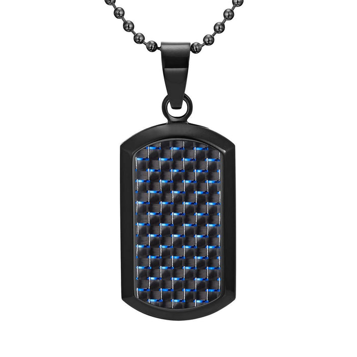 Willis Judd Men's Black Stainless Steel Dog Tag Pendant Engraved Latin Carpe Diem with Blue Carbon Fiber and Necklace with Gift Pouch