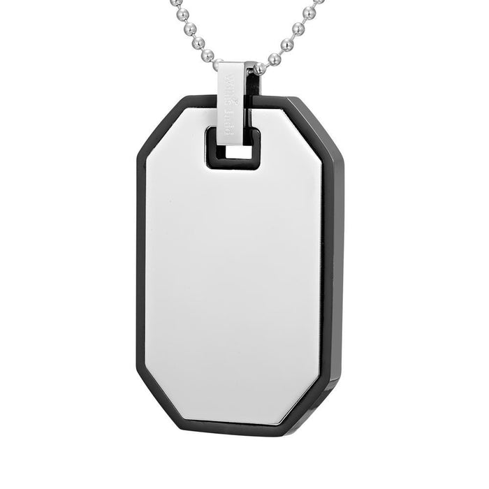 Willis Judd Mens Black Two Tone Stainless Steel Checkered Plate Effect Pendant with Necklace
