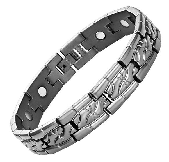Mens Willis Judd Titanium Magnetic Therapy Bracelet for Arthritis Pain Relief Two Tone Size Adjusting Tool and Gift Box Included