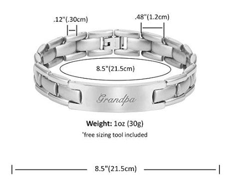 Willis Judd Grandpa Titanium Bracelet Engraved Love You Grandpa Adjusting Tool & Gift Box Included …