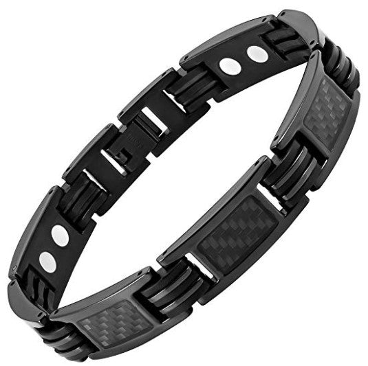 Willis Judd Mens Carbon Fiber Titanium Magnetic Bracelet Size Adjusting Tool and Gift Box Included (8.5inch)