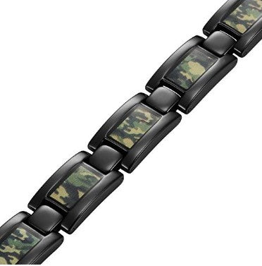 Mens Green Camouflage Titanium Magnetic Bracelet Size Adjusting Tool and Gift Box Included By Willis Judd