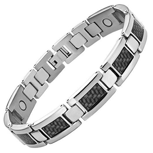 Mens Willis Judd Graphite Carbon Fiber Titanium Magnetic Bracelet Size Adjusting Tool and Gift Box Included
