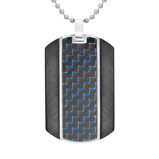 "Willis Judd Mens Blue Carbon Fiber Stainless Steel Pendant In Black with 22"" Necklace and Gift Pouch"