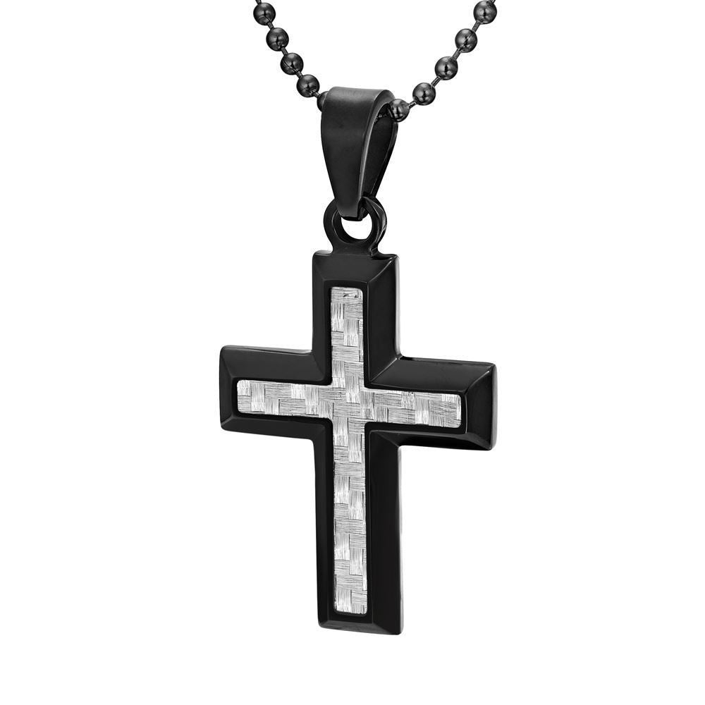 Willis Judd Men's Black Stainless Steel Cross Pendant with Carbon Fiber with Necklace & Gift Pouch