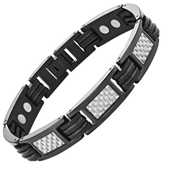 Mens Willis Judd Carbon Fiber Titanium Magnetic Bracelet Size Adjusting Tool and Gift Box Included