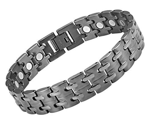 Mens  Willis Judd Titanium Magnetic Therapy Bracelet Gunmetal Color Size Adjusting Tool & Gift Box Included