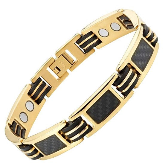 Mens Carbon Fiber Titanium Magnetic Bracelet Gold Tone Size Adjusting Tool and Gift Box Included By Willis Judd