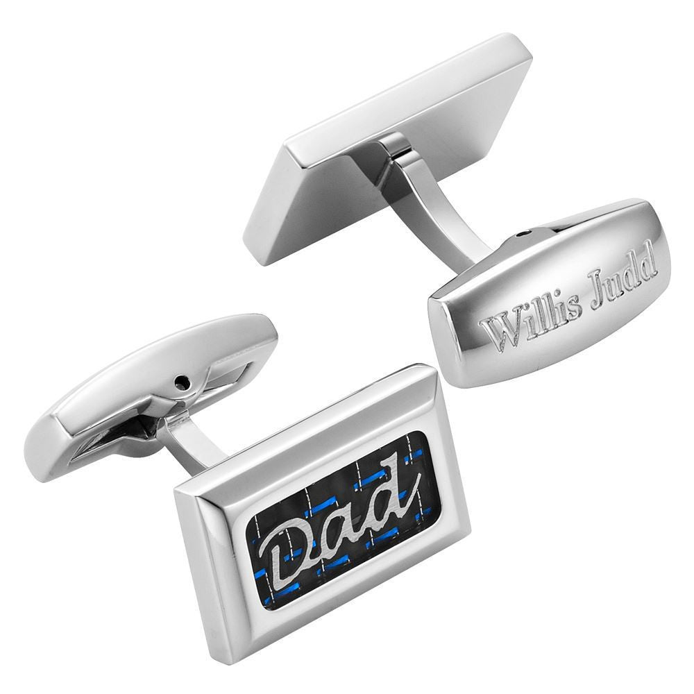 Willis Judd Men's DAD Stainless Steel with Blue Carbon FIber Cufflinks with Gift Pouch