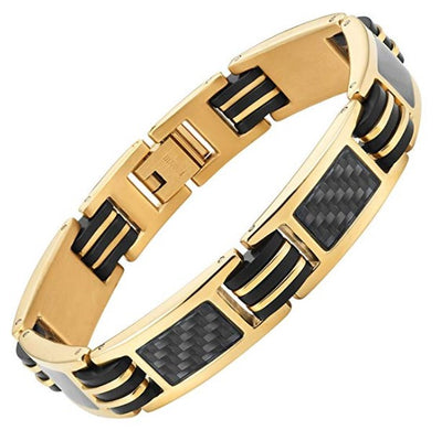 Willis Judd Men's Titanium with Black Carbon Fiber Lightweight Bracelet Adjustable with Gift Box