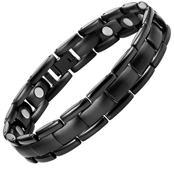 Mens Willis Judd Mens Titanium Magnetic Therapy Bracelet Black Adjustable for Pain Relief Arthritis and Carpal Tunnel