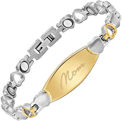 Willis Judd Engraved MOM Love Heart Bracelet for Mothers Day from Daughter or Son in Gift Box Size Adjustable