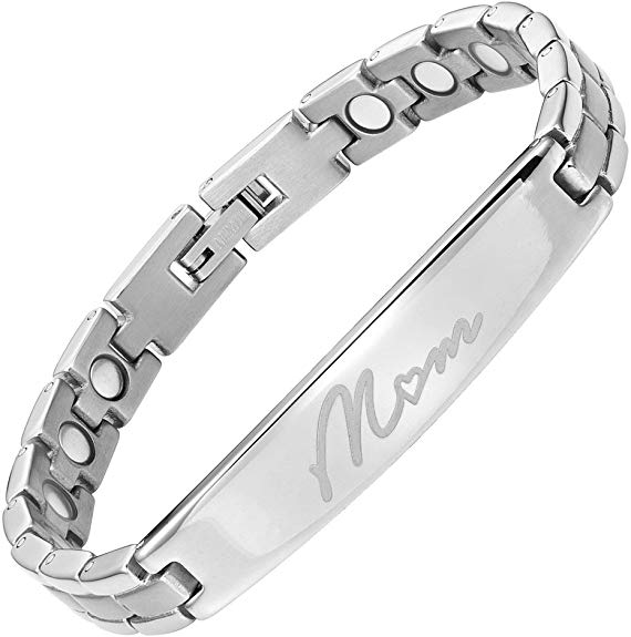 Willis Judd MOM Titanium Magnetic Therapy Bracelet Engraved Size Adjusting Tool and Gift Box Included