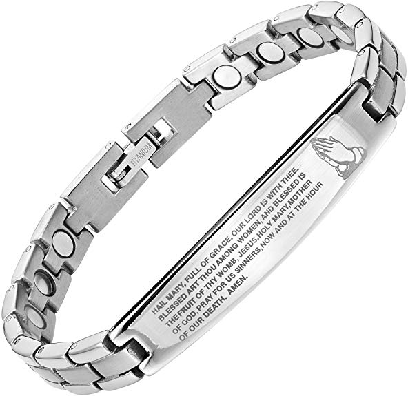 Willis Judd Titanium Magnetic Bracelet Engraved with The Hail Mary Adjustable