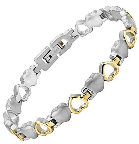Willis Judd Women's Love Heart Titanium Fiber Lightweight Bracelet Adjustable with Gift Box