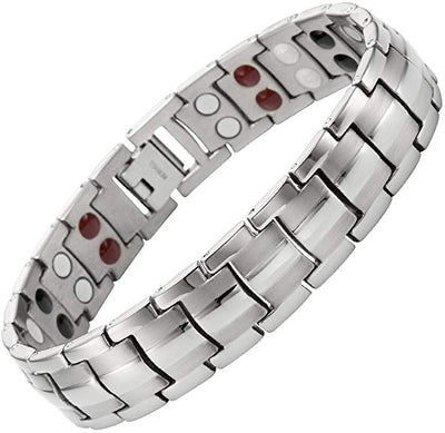 Mens Willis Judd Double Strength 4 Element Titanium Magnetic Therapy Bracelet for Arthritis Pain Relief Adjustable