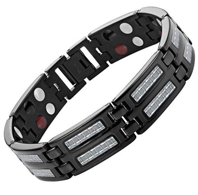 Willis Judd Mens Four Element Titanium Magnetic Bracelet Carbon Fiber & Free Link Removal Tool