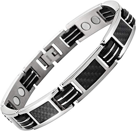 Mens Carbon Fiber Titanium Magnetic Bracelet Adjustable Included By Willis Judd