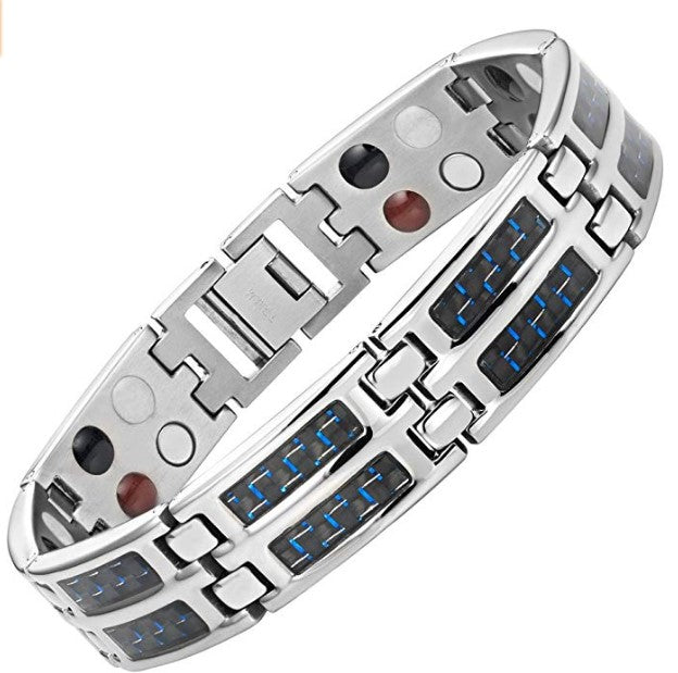 Mens Blue Carbon Fiber Titanium Magnetic 4 Element Bracelet Double Strength Adjusting Tool and Gift Box Included By Willis Judd
