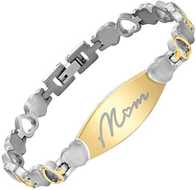 Willis Judd MOM Love Heart Bracelet Engraved Love You Mom Adjusting Tool & Gift Box Included