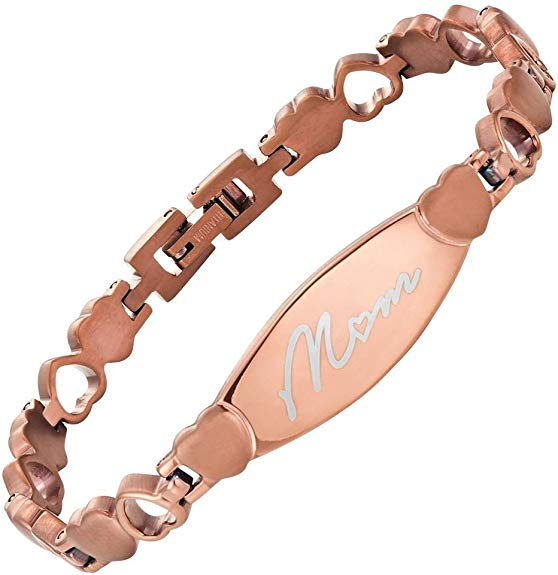 Willis Judd MOM Love Heart Titanium Bracelet Engraved Love You Mom Adjusting Tool & Gift Box Included