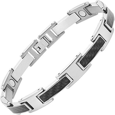 "Mens Black Carbon Fiber Titanium Magnetic Bracelet 8.5"" By Willis Judd"