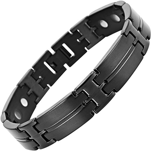 Mens Willis Judd Titanium Magnetic Therapy Bracelet for Arthritis Pain Relief Black Colour Size Adjusting Tool and Gift Box Included