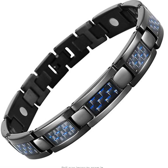 Willis Judd Mens Blue Carbon Fiber Titanium Magnetic Bracelet Adjustable