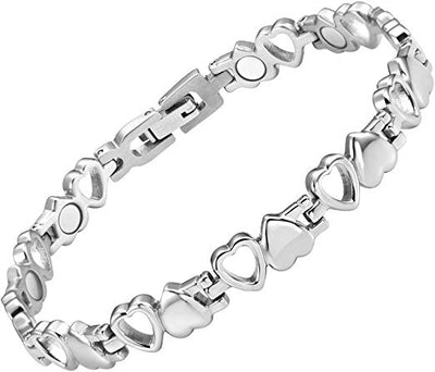 Womens Love Heart Titanium Magnetic Therapy Bracelet Adjustable