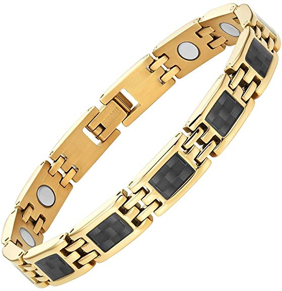 Willis Judd Womens Titanium Magnetic Bracelet with Gold Tone Carbon Fiber Size Adjusting Tool and Gift Box Included