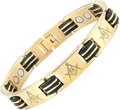 MasonicMan Titanium Freemasonry Masonic Magnetic Bracelet with Adjusting Tool and Gift Box