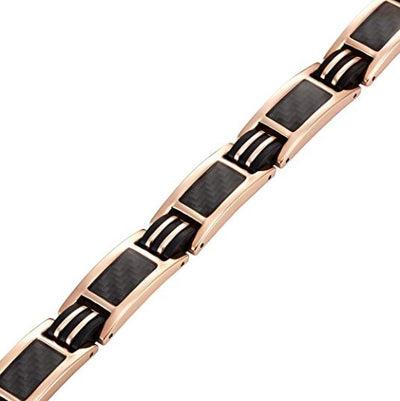 Mens Willis Judd Carbon Fiber Titanium Magnetic Bracelet Rose Gold Tone Size Adjusting Tool and Gift Box Included