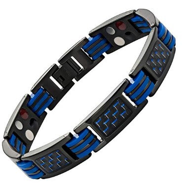 Mens Blue Carbon Fiber Titanium Magnetic 4 Element Bracelet Double Strength Adjusting Tool and Gift Box Included