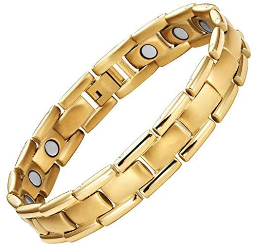 Mens Willis Judd Titanium Magnetic Therapy Bracelet Gold Tone Size Adjusting Tool and Gift Box Included
