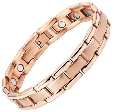Mens Willis Judd Titanium Magnetic Therapy Bracelet Rose Tone Size Adjusting Tool and Gift Box Included