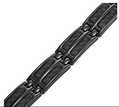 Mens Black Carbon Fiber Titanium Magnetic Bracelet Double Strength Adjusting Tool and Gift Box Included By Willis Judd