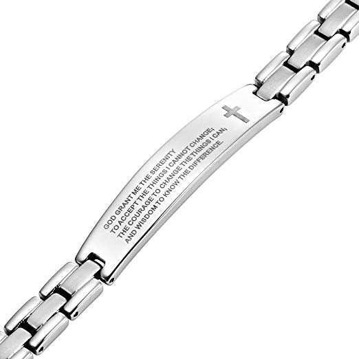 English The Serenity Prayer Womens Titanium Magnetic Bracelet Adjustable By Willis Judd