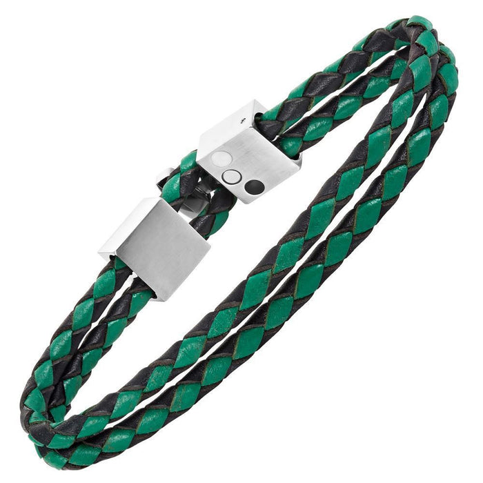 Willis Judd Men's Black and Green Magnetic Leather and Stainless Steel Bracelet with Green Carbon Fiber Gift Boxed