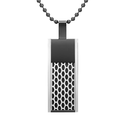 Willis Judd Mens Black Stainless Steel Tri Honey Comb Pendant with Necklace and Gift Pouch
