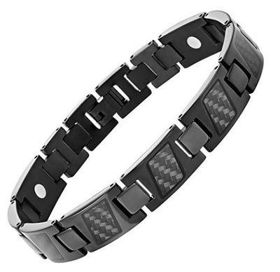 Willis Judd Black Carbon Fiber Titanium Magnetic Bracelet Size Adjusting Tool and Gift Box Included