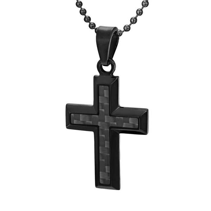 Willis Judd Men's Black Stainless Steel Cross Pendant Engraved US Marin Latin Semper Fidelis with Black Carbon Fiber and Necklace with Gift Pouch