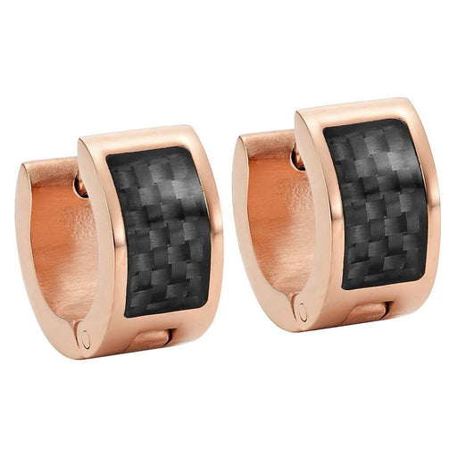 Willis Judd Men's Two Tone Rose Stainless Steel Earring with Black Carbon Fiber in Gift Pouch