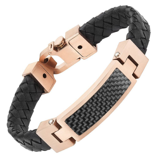 Willis Judd Black Leather Bracelet with Two Tone Stainless Steel and Black Carbon Fiber Engraved I Love You with Gift Box