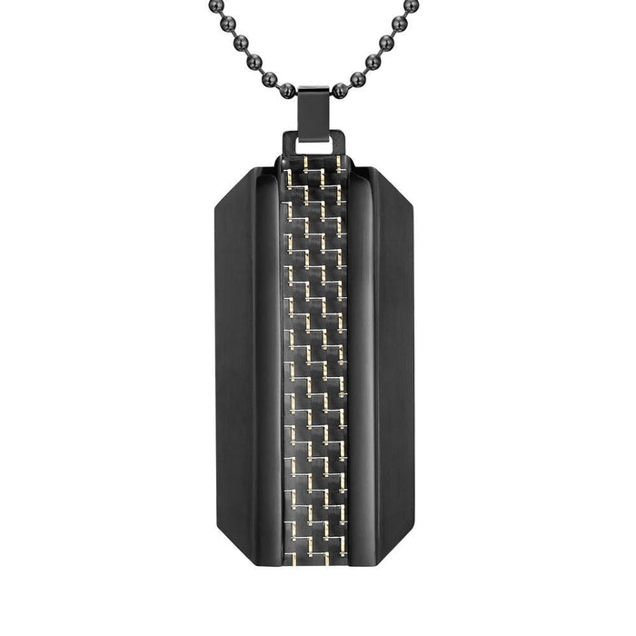 Willis Judd Mens Two Tone Black Stainless Steel With Carbon Fiber Pendant with Necklace and Gift Pouch
