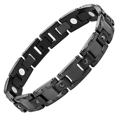 Willis Judd Black CZ Black Titanium Magnetic Bracelet Size Adjusting Tool and Gift Box Included