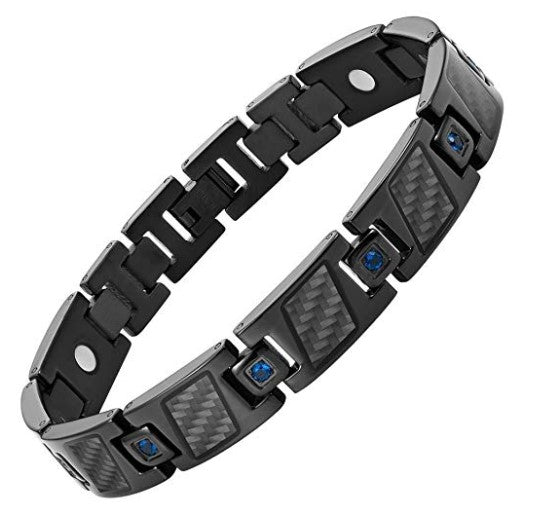 Mens Willis Judd Carbon Fiber Blue CZ Titanium Magnetic Bracelet Size Adjusting Tool and Gift Box Included